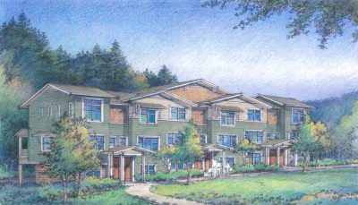 Rendering of 100-unit apartment community on Snoqualmie Ridge by Evergreen Housing Development Group