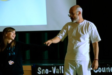 Speaker Nigel Wrangham during a demonstration at the 2012 Be the Change Conference at Twin Falls Middle School