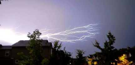 Lightning over Eagle Point, Snoqualmie Ridge, looking west, 8/9/2013 by Jay Rabena