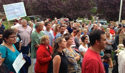 Over 100  SVSD teachers showed up at 8/28/13 School Board Meeting, rallying for new contract.