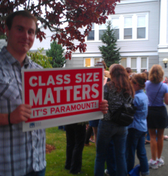 Snoqualmie Valley teachers rally at the August 29, 2013 SVSD school board meeting.