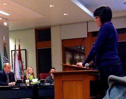 SVASA Union Rep, Karen Seiser, addresses school board on 1/9/2014