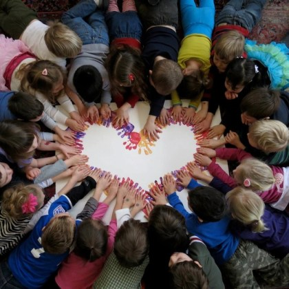 """Heart of Little Hands"" made by students at Mountain Valley Montessori.  Photo: MV Montessori Facebook page"