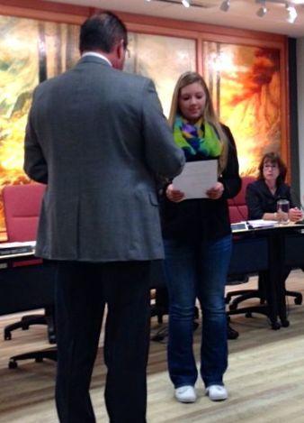 School Board Student Rep. Adrienne Barnhart takes Oath of Office, 1/9/14