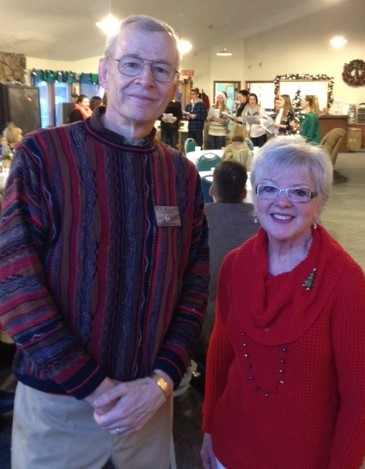 Rotary President Pete Bullard and Mt. Si Senior Center Executive Director Paula Edwards at Warming Shelter Thank You Breakfast in December.