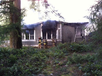 Crews battle house fire in 4500 block of SE North Bend Way, 2/3/14