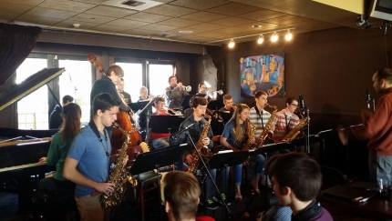 In January, the MSHS Jazz Band practices their Essentially Ellington competition pieces at Boxley's in North Bend.