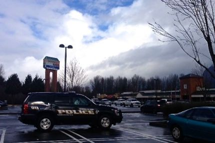 Police vehicles monitor Mountain Valley Shopping Center where Sunday's assault occurred.