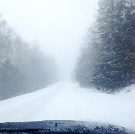 Snow at I-90 exit 38.  Photo: Anne Davison