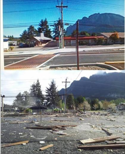 Before and after of the North Bend explosion site. Photo by Ellen Torchia