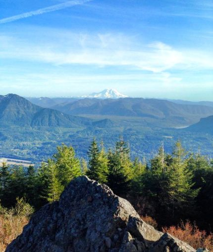 Mt. Rainier view from atop Mt Si. Photo by Katelyn Walker on 5/15/14.