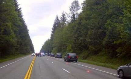 Photo: WA State Patrol Twitter feed.  Troopers help traffic after motorcycle accident 5/16/14