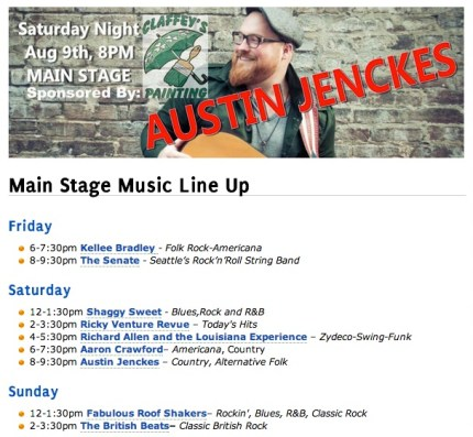 All of the musical acts that will be taking place this weekend.