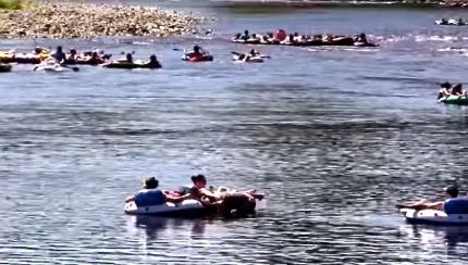 Floaters on the Snoqualmie River near Fall City. Photo; Screenshot fundraiser video.