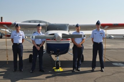 4 Overlake Squadron cadet members at the Desert Eagle graduation ceremony on August 3, 2014, in Ephrata, WA. Cadet Eckardt of Snoqualmie on far left.