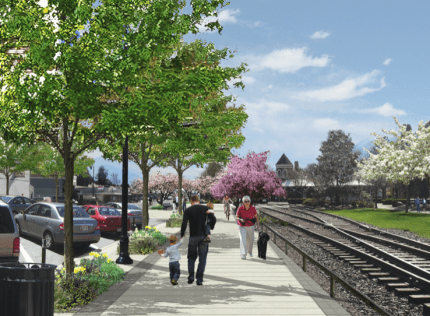 Rendering of downtown Snoqualmie when Infrastructure project is completed in summer 2015