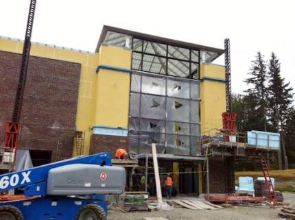 Atrium entrance to new Snoqualmie Valley Hospital under construction near I-90 exit 25. Photo: SV Hospital Facebook page