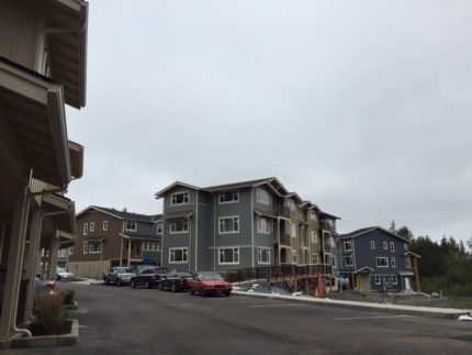 Interior townhomes at the Woodlands where construction continues.