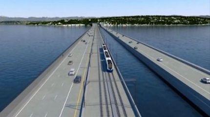 Digital animation of Sound Transit's future light rail line across I-90m floating bridge.  Photo: Sound Transit website screenshot