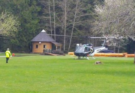 KCSO Guardian 2 helicopter arriving at SAR command post at Valley Camp near North Bend, WA