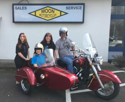 Elly, Trevor, Leslie and Scott  Moon at their new Issaquah, Moon Motorcycle Shop