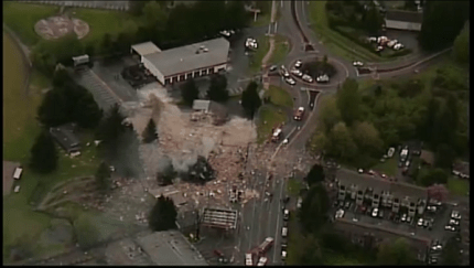 Aerial image of North Bend Way explosion site, 4/25/14