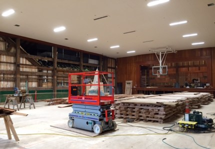 Overhangs and wall paneling have been removed in the Si View Community Center gymnasium as part of an extensive remodel project. 4/28/15