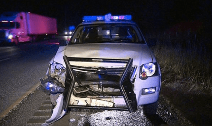KCSO vehicle sustained extensive damage when it struck a deer on I-90, June 17, 2015.