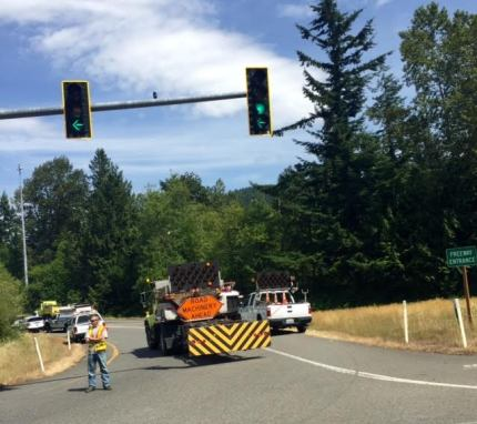 On ramp to EB I-90 from SR 18 was closed for fuel spill cleanup and overturned semi, 6/17/15