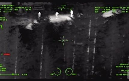 KCSO Guardian One helicopter locates auto theft suspects near exit 32 in North Bend, 6/5/15. Photo: Screenshot KCSO search video