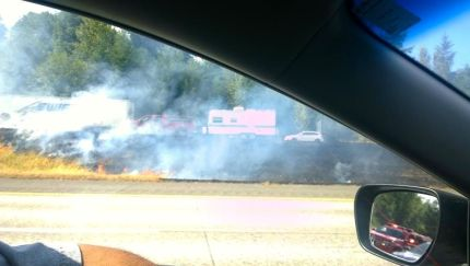 Charred I-90 median near I-90/SR18 interchange, 77/12/15.  Photo: Rachel Harris