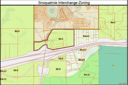 Snoqualmie land (outlined in red) studied for UGA expansion near the 90/18 interchange.
