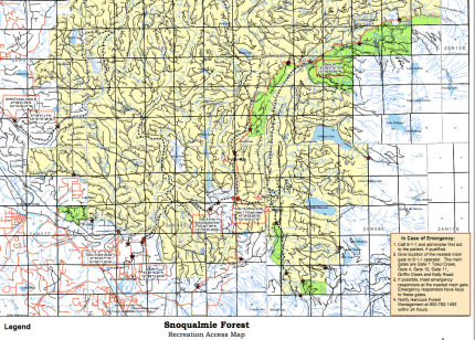Southern portion of the Snoqualmie Forest Recreation Map from Hancock Forest Management website.
