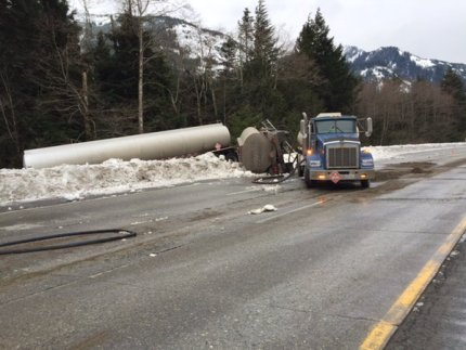 Overturned tanker truck on eastbound I-90 near North Bend, 1/12/16. Photo: WSDOT.