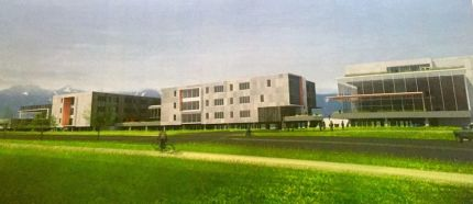 Schematic of MSHS along Meadowbrook Way. Left is 3-story classroom building with Freshman Campus building to the right, with its own drop-off and entry.