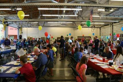 Snoqualmie Fire Station bays become a dining hall during the annual Snoqualmie Firefighters Railroad Days Pancake Breakfast held every August.