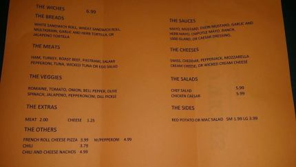 Wicked Witches Sandwich Shop menu.