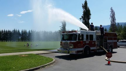 Snoqualmie Fire Dept. sprayed kids at Centennial Park in 2014 during a training exercise.