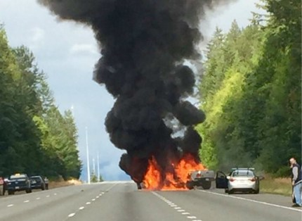 Collision on westbound I-90 near SR 18 resulted in a large vehicle fire, 7/18/16