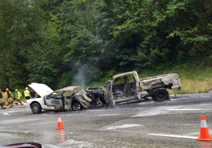 Accident scene near SR 18 on 7/18/16 after fire engulfed two vehicles following collision. Photo: Henry Mitchell.
