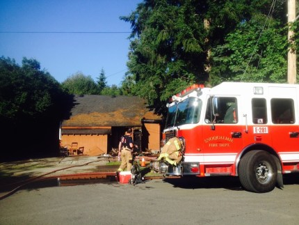 Snoqualmie FD on scene of house fire Tuesday evening, 7/26/16. Photo: SFD