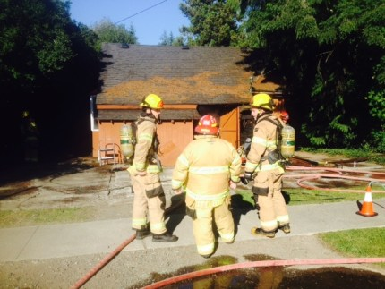 Firefighters on scene of house fire in downtown Snoqualmie, 7/26/16