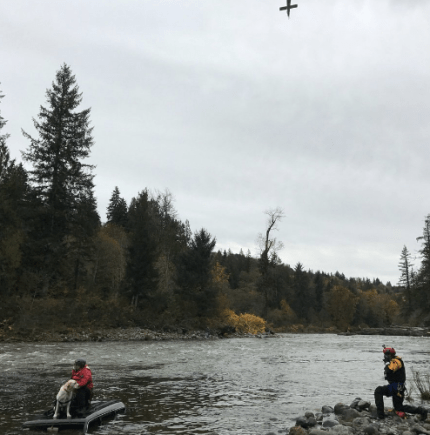 River rescue training drill with 'victims' stranded atop a submerged vehicle on the Snoqualmie River, 10/19/16 Photo: KCSO