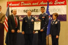 Above: Kenneth Kelly, Brig Gen Joseph Vazquez, and Lt Gen Fedder, present Capt Eashan Samak the Spaatz Award certificate.