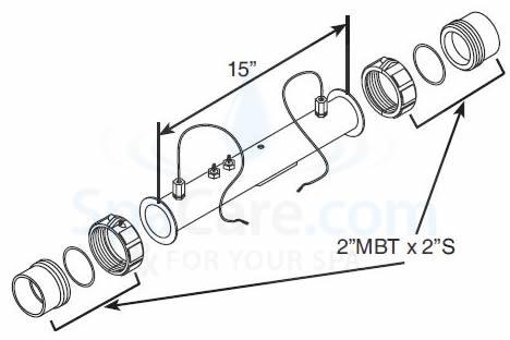 Balboa M7 Heater Assembly 4.0 KW 220 Volt W/Sensors 58104