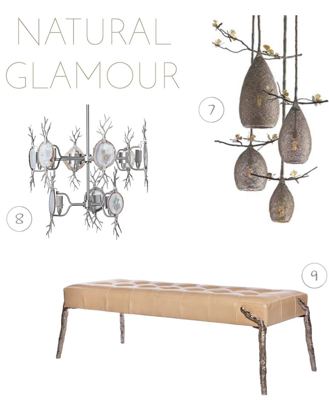 1. Cocoon Pendant Lights by Michael Aram | 2. Branch Agate Chandelier by Emporium Home | 3. Branch Bench by Emporium Home