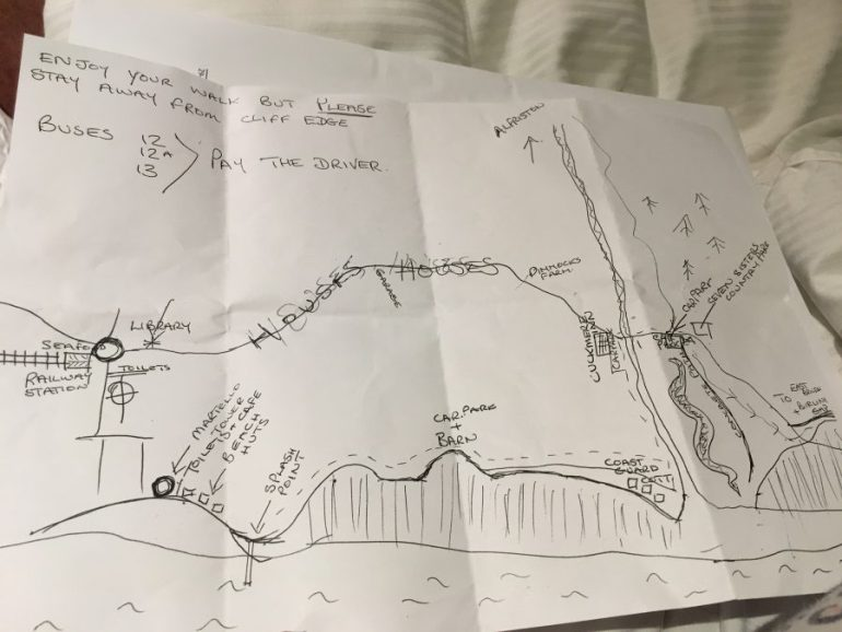 Hand-drawn map of the cliff downs in southern England.