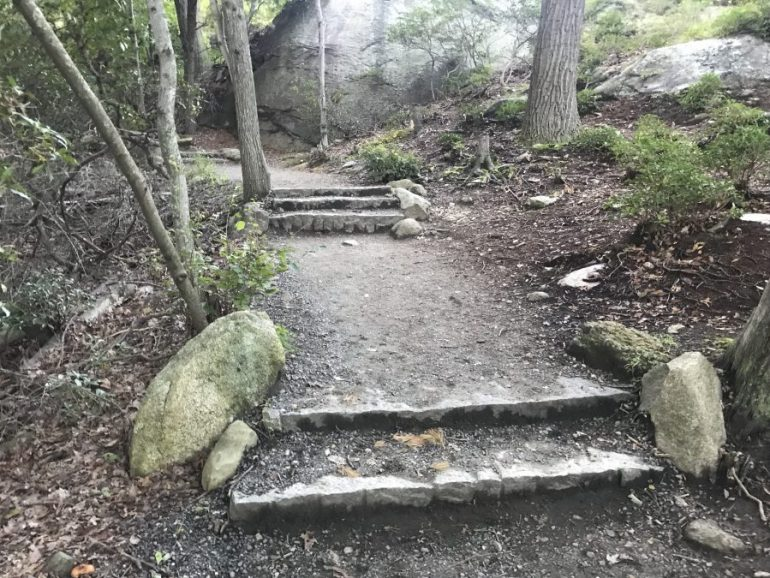 The terraced path leading northbound from the top of Bear Mountain