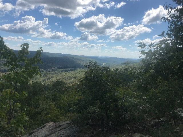 A view of the green Palisades Mountains and Interstate 87 from the top of Arden Mountain