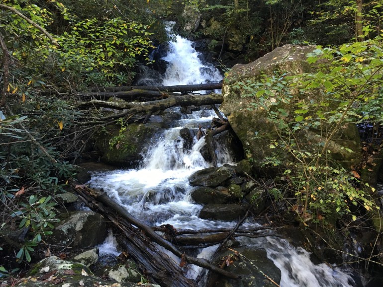 A creek water fall zigzagging down the side of a hill